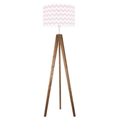 youngDECO lampa podłogowa trójnóg dębowy chevron różowy