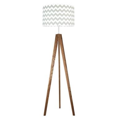 youngDECO lampa podłogowa trójnóg dębowy chevron szary