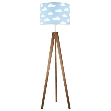 youngDECO lampa podłogowa trójnóg dębowy chmurki na błękitnym