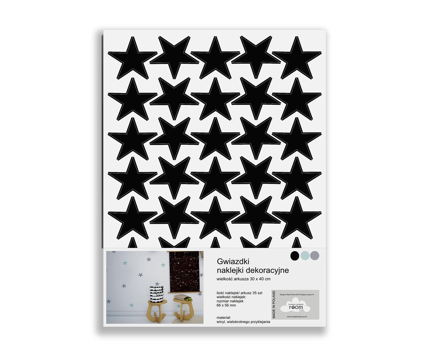 Naklejki na ścianę do pokoju dziecka-gwiazdki czarne