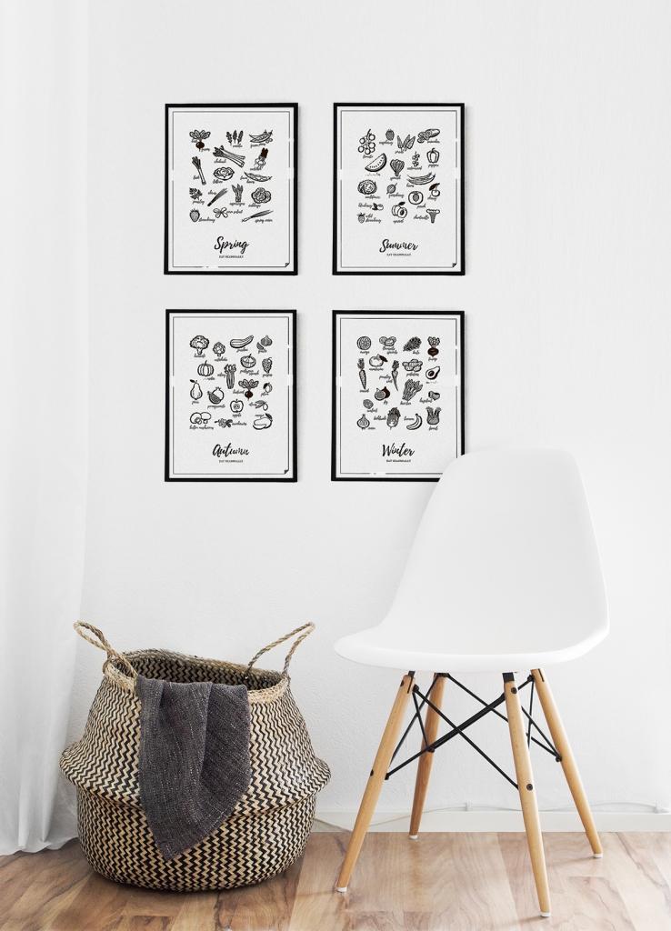 Czarno-biały plakat do kuchni.Designerski i nowoczesny.Zestaw grafik 4 pory roku - Jedz sezonowo.