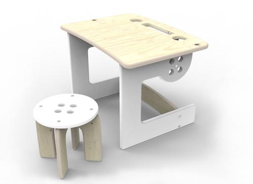 Drewniany stolik ze stołeczkiem do zabawy i nauki. Solidna konstrukcja, naturalne materiały.Biały