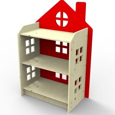 Drewniany regał w kształcie domku.