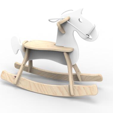 Koń na biegunach STEFANEK biały