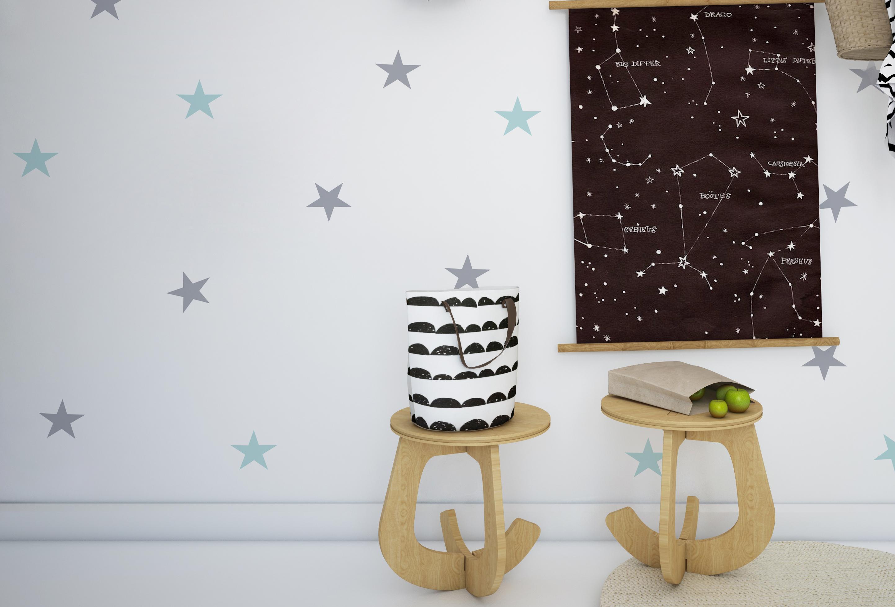 Naklejki ścienne Stars - szare,czarne,miętowe