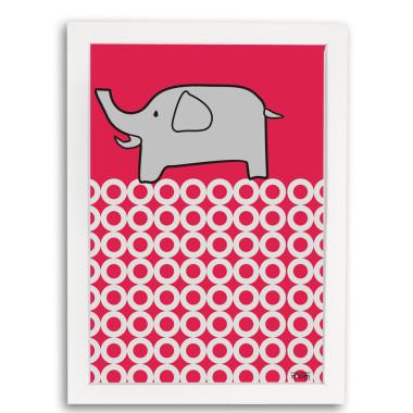 Plakat Słoń w ramce. Ciekawe rozwiązanie do udekorowania pokoju dziecięcego.