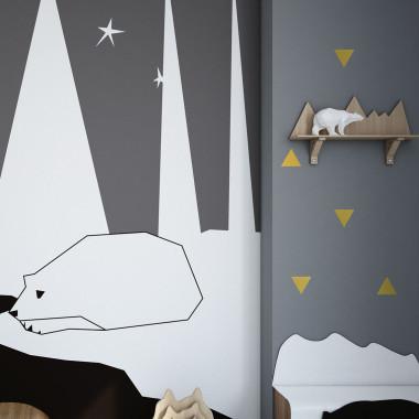 Złote naklejki ścienne do pokoju dziecka-ozdoba na ścianę. Trójkąty.