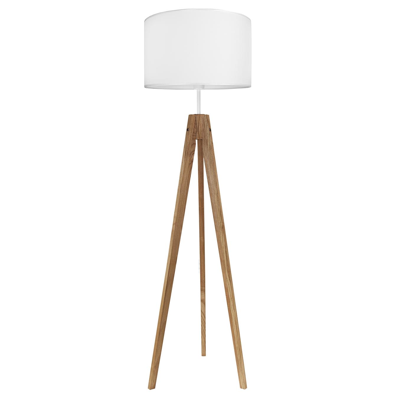 youngDECO lampa podłogowa trójnóg dębowy porcelanowa biel