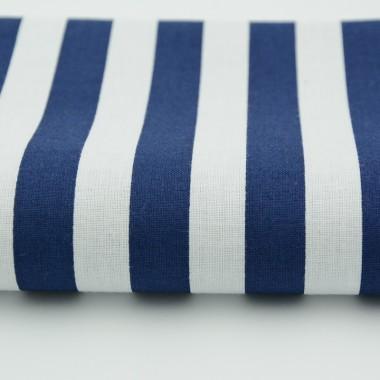 Zasłona z cienkiej tkaniny z podszewką. Granatowo-biała Paski 15mm