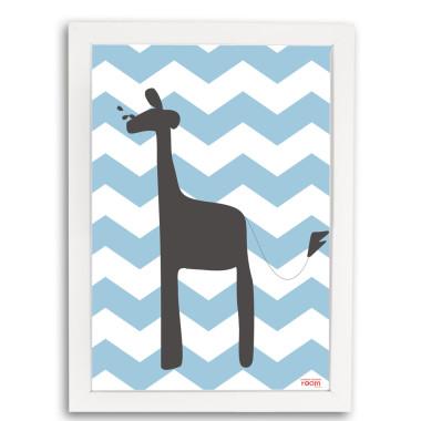 Plakat Żyrafa w ramce Ciekawe rozwiązanie do udekorowania pokoju dziecięcego.