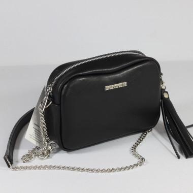 Mała czarna skórzana torebka na ramię Fabioletka- modna i elegancka – skóra licowa