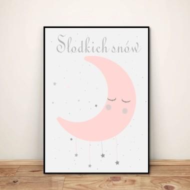 """Plakat dla dzieci """"Słodkich snów"""" róż księżyc"""