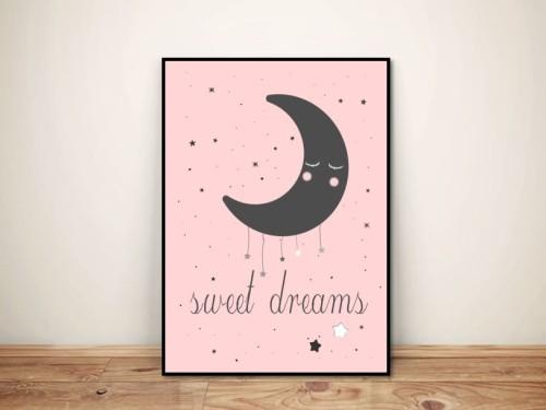 """Plakat dla dzieci """"Sweet dreams"""" księżyc"""