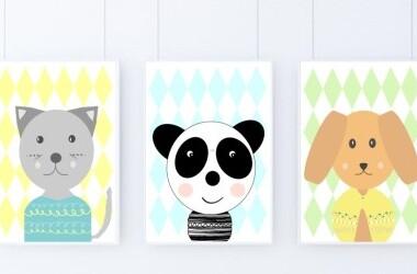 Zestaw plakatów w stylu skandynawskim do pokoju dziecięcego.Zwierzaki.