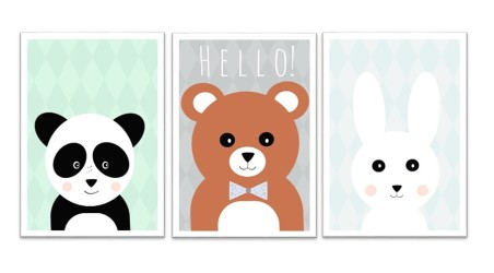 Zestaw plakatów w stylu skandynawskim do pokoju dziecięcego.