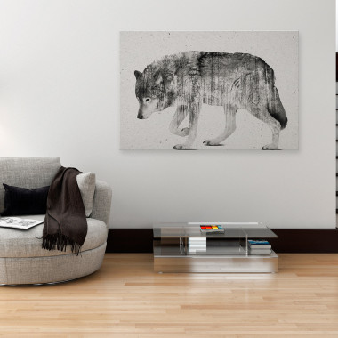 Leśna wataha - nowoczesny obraz na płótnie. Czarno-biały.