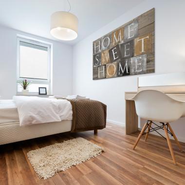 Home sweet home w brązach - nowoczesny obraz na płótnie