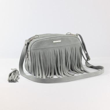 Modna szara skórzana torebka na ramię z frędzlami - idealna na wiosnę i lato