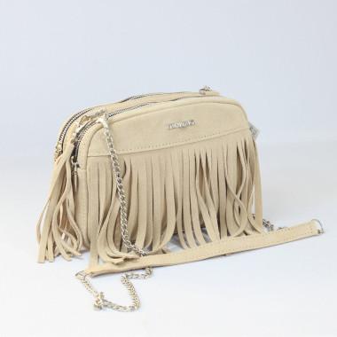 Modna beżowa skórzana torebka na ramię z frędzlami - idealna na wiosnę i lato