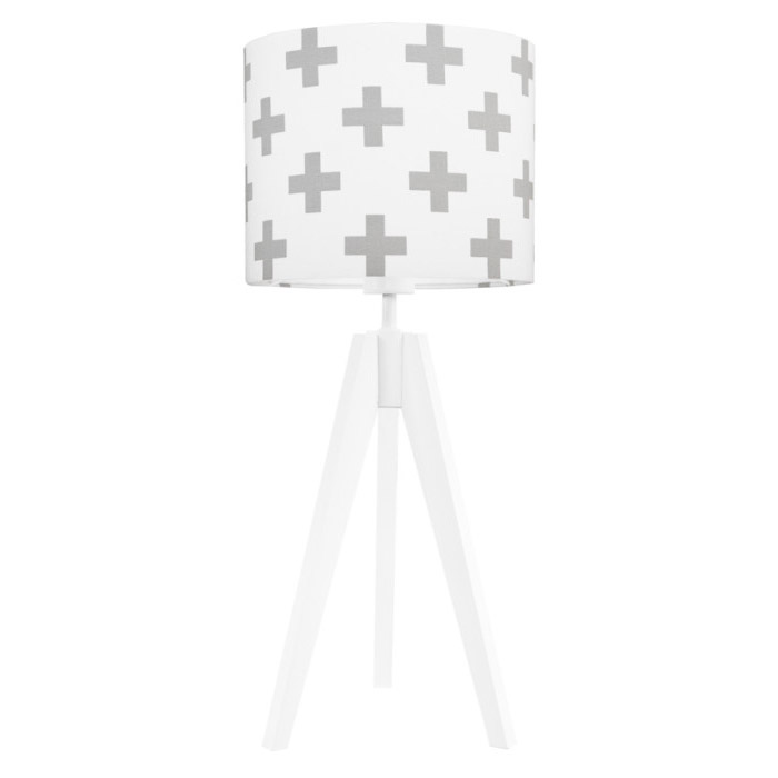Lampa nocna na stolik Krzyżyki szare
