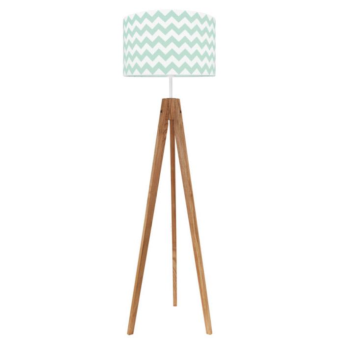 Lampa podłogowa sztalugowa do pokoju dziecięcego miętowa cewron zygzak