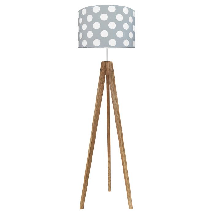 Lampa podłogowa sztalugowa do pokoju dziecięcego szara w grochy