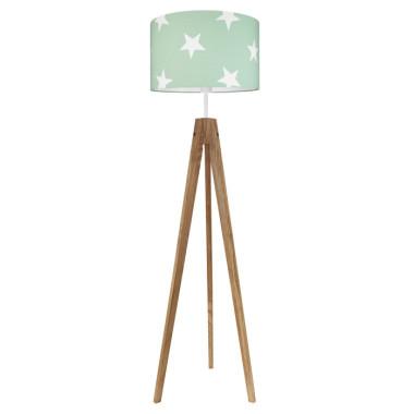 Lampa podłogowa sztalugowa do pokoju dziecięcego miętowa w gwiazdki