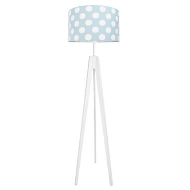 Lampa podłogowa sztalugowa do pokoju dziecięcego niebieska w grochy