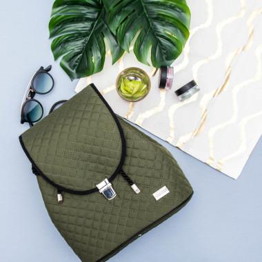 Pikowany plecak damski w kolorze khaki idealny na rower czy wyceczkę poza miasto