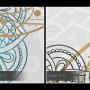 Piękna, spokojna grafika – kompozycja geometryczna z rozetami.