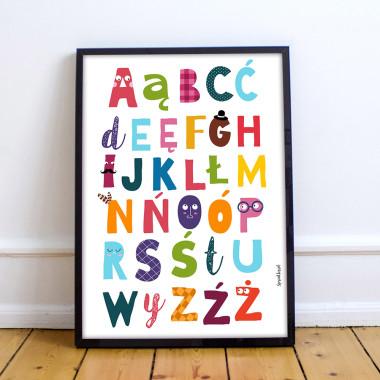 Alfabet kolorowy - edukacyjny plakat dla dzieci