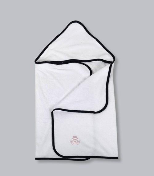 Pepe (granatowa lamówka) - duży ręcznik kąpielowy z kapturem 140x70 idealny na basen!