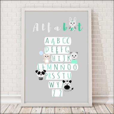 Plakat dla dzieci ALFABET ze zwierzątkami