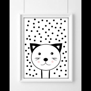 Plakat dla dzieci Kot w kropach