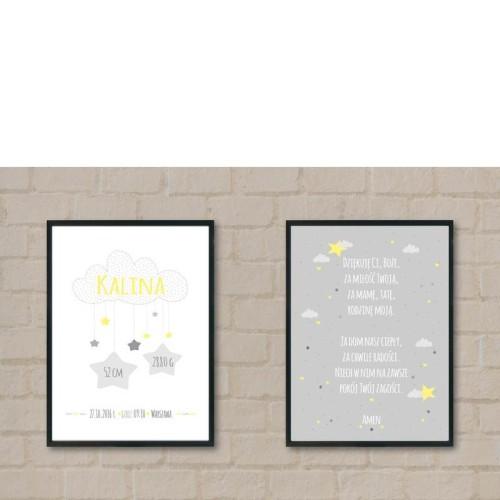 Zestaw 2 plakatów dla dziecka na chrzest narodziny