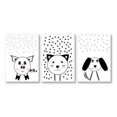 Zestaw 3 plakatów dla dzieci Zwierzątka domowe