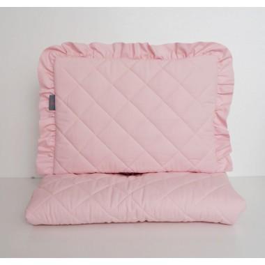 Zestaw do wózka pikowany pudrowy róż - poduszka z falbanką + kołderka