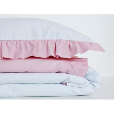 Biała pościel dziecięca z różową falbanką, rozmiar 100x135 oraz 90x120