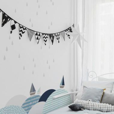 Szare kropelki dobrze będą wyglądać na ścianie sypialni lub kuchni.