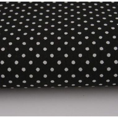 Czarna bawełna w drobne kropeczki. Idealna do wykwintnego salonu lub gabinetu.