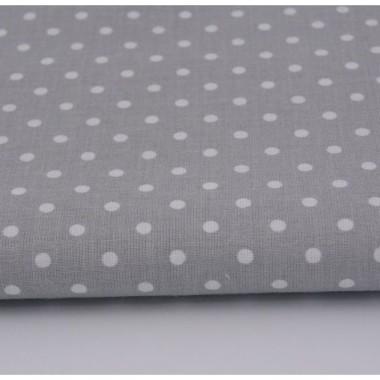 Bawełniane szare zasłony w grochy. Sprawdzą się w gabinecie lub jadalni urządzonych w stylu minimalistycznym.