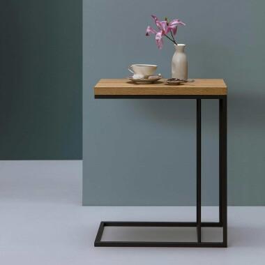 Felix - minimalistyczny nowoczesny stolik pomocniczy do salonu sypialni -  pasuje do stylu loft,  skandynawskiego - stalowy, blat drewniany dębowy