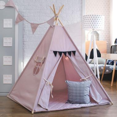 Namiot, domek, wigwam do zabawy dla dzieci w kolorze brudnego różu fioletu, szarości-dekoracja do pokoju dziecka.