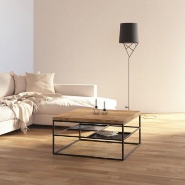 Nowoczesny stolik kawowy / ława do salony w stylu industrialnym, skandynawskim. Czarna metalowa podstawa i drewniany dębowy blat.