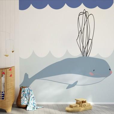Mural Pan Wieloryb i Pan Malusiński - mural. Tapeta do pokoju dziecka