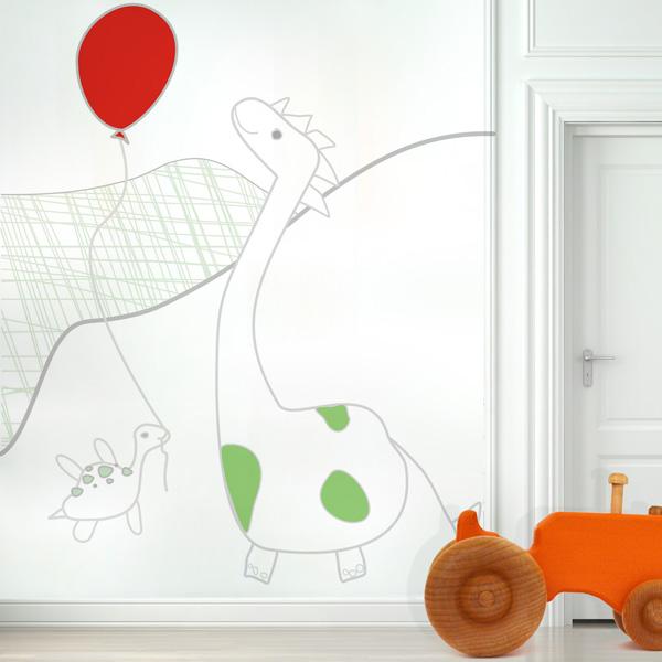 Dino szuka Przyjaciela - mural. Tapeta do pokoju dziecka.