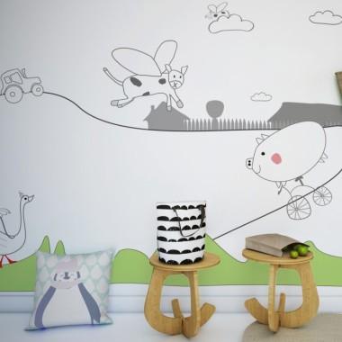Mural/ tapeta do pokoju dziecka-kolorowa ściana z rysunkami w pokoju dziecka