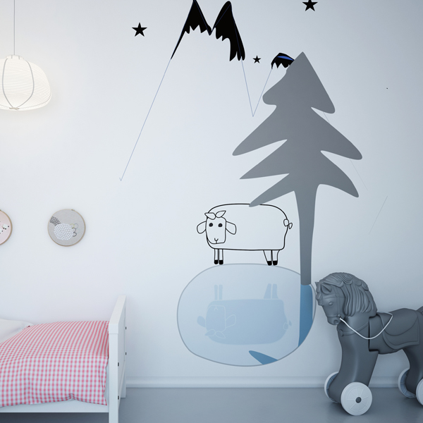 Owieczka samotna w górach - mural. Tapeta do pokoju dziecka.