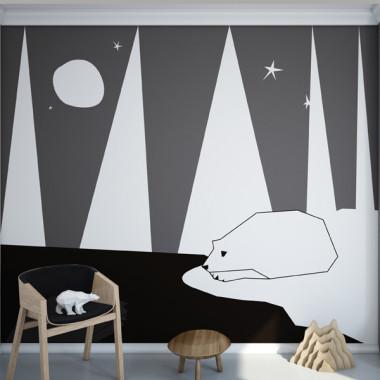 Miś polarny - mural. Tapeta do pokoju dziecka.