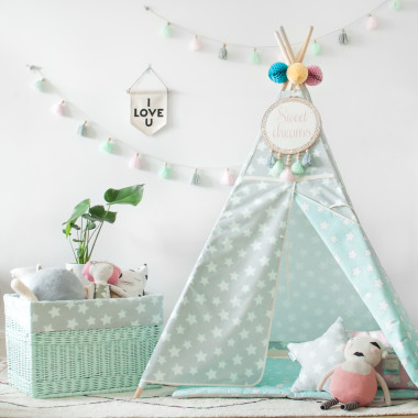 Tipi Mint & Grey Stars (2)